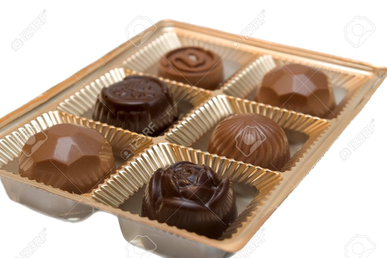 Chocolate candy in a box on white background Stock Photo - 6979721