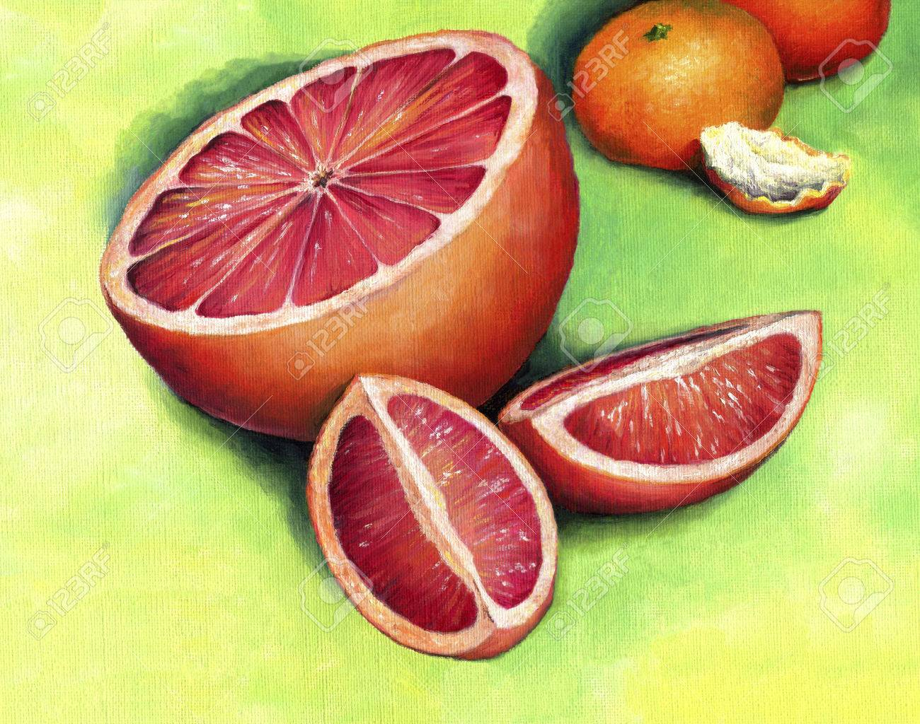 Red grapefruit, painted in oil on canvas. Grapefruit, cut into pieces. - 40319943