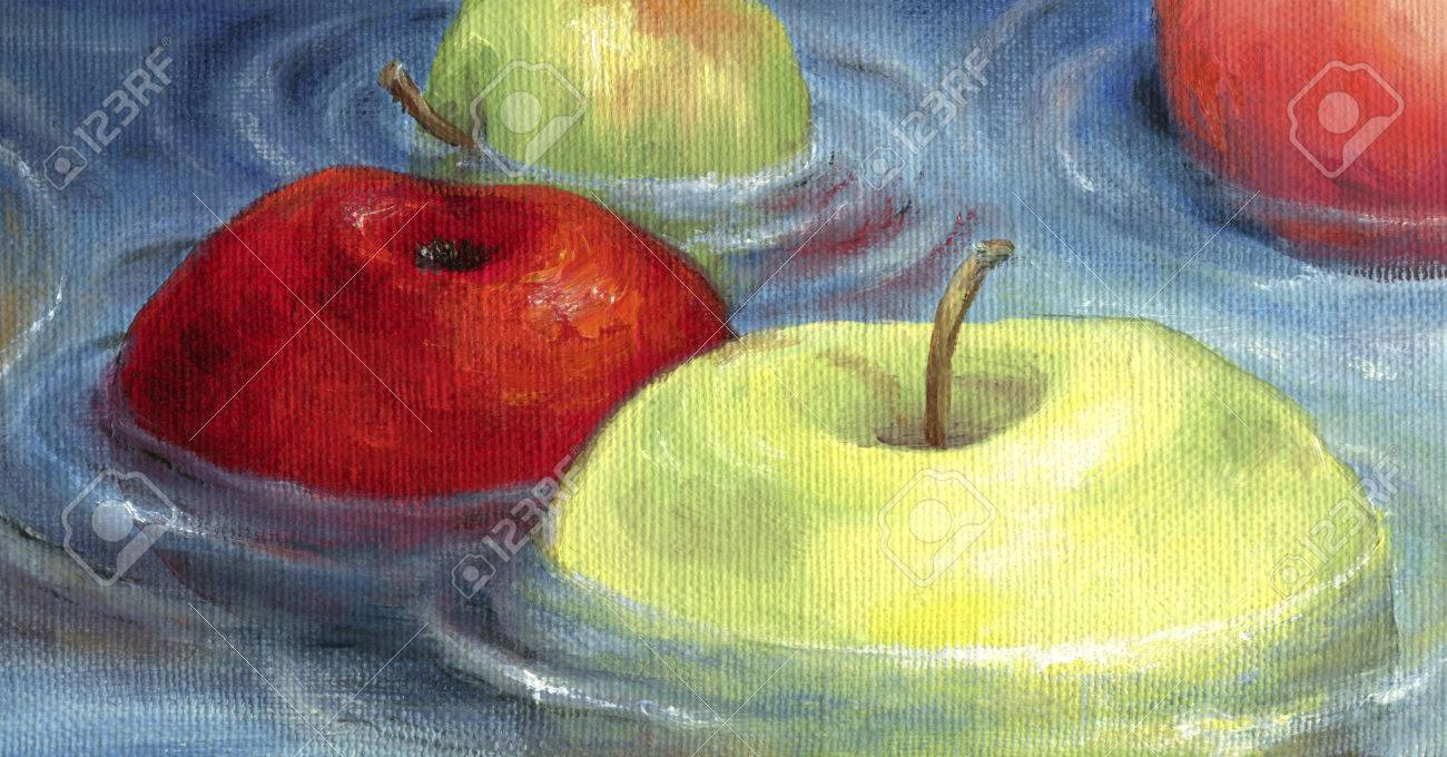 Red and green apples floating on the water surface. Floating apples depicted in oil on canvas. - 42096670