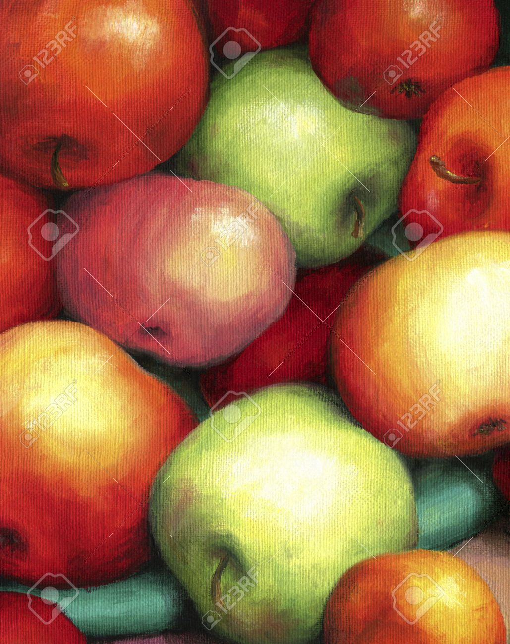 Rich harvest of ripe, juicy and tasty apples. Red and green apples are shown in oil on canvas. - 42076567