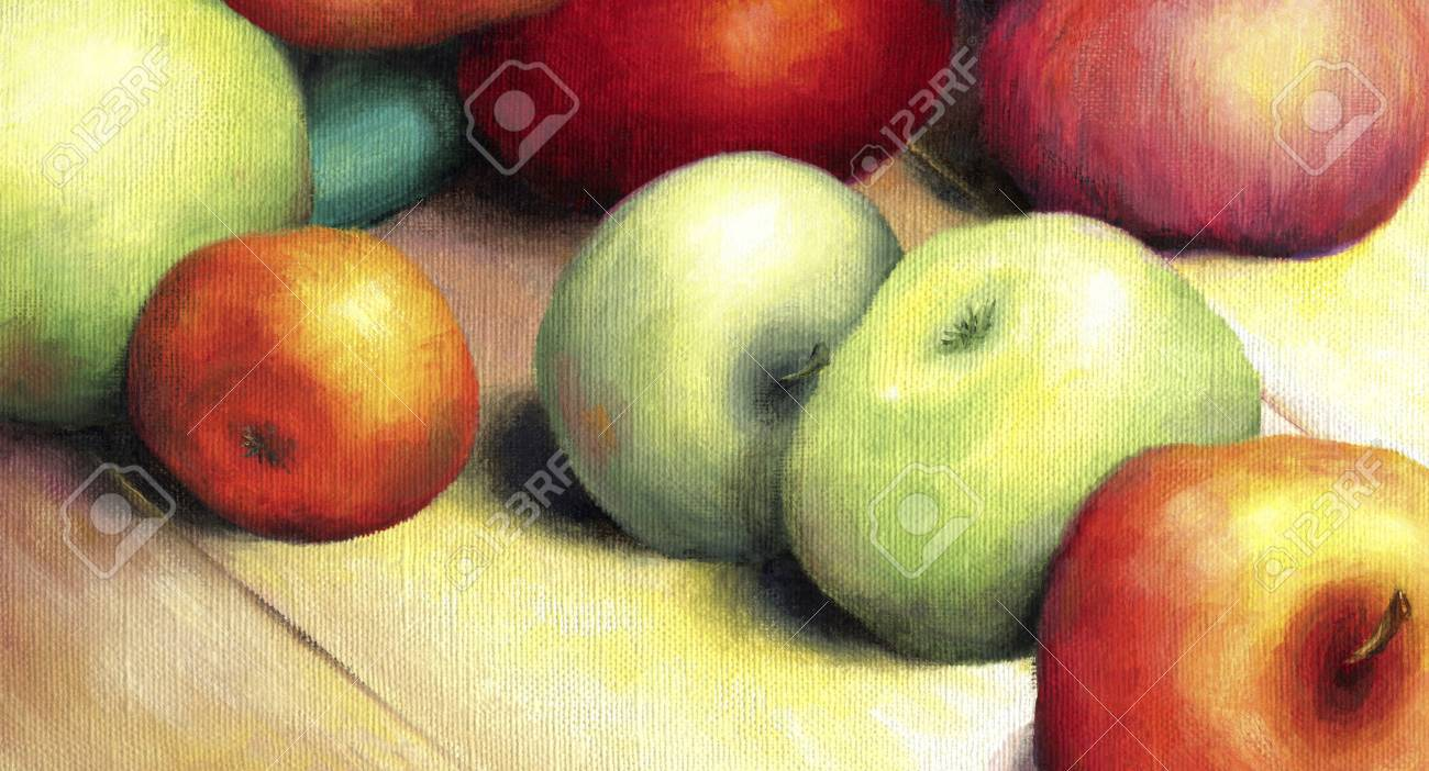 Sunlit ripe green and red apples. Seductive apples lie on a wooden surface lit by the bright rays of the sun. Oil on canvas - 44336566