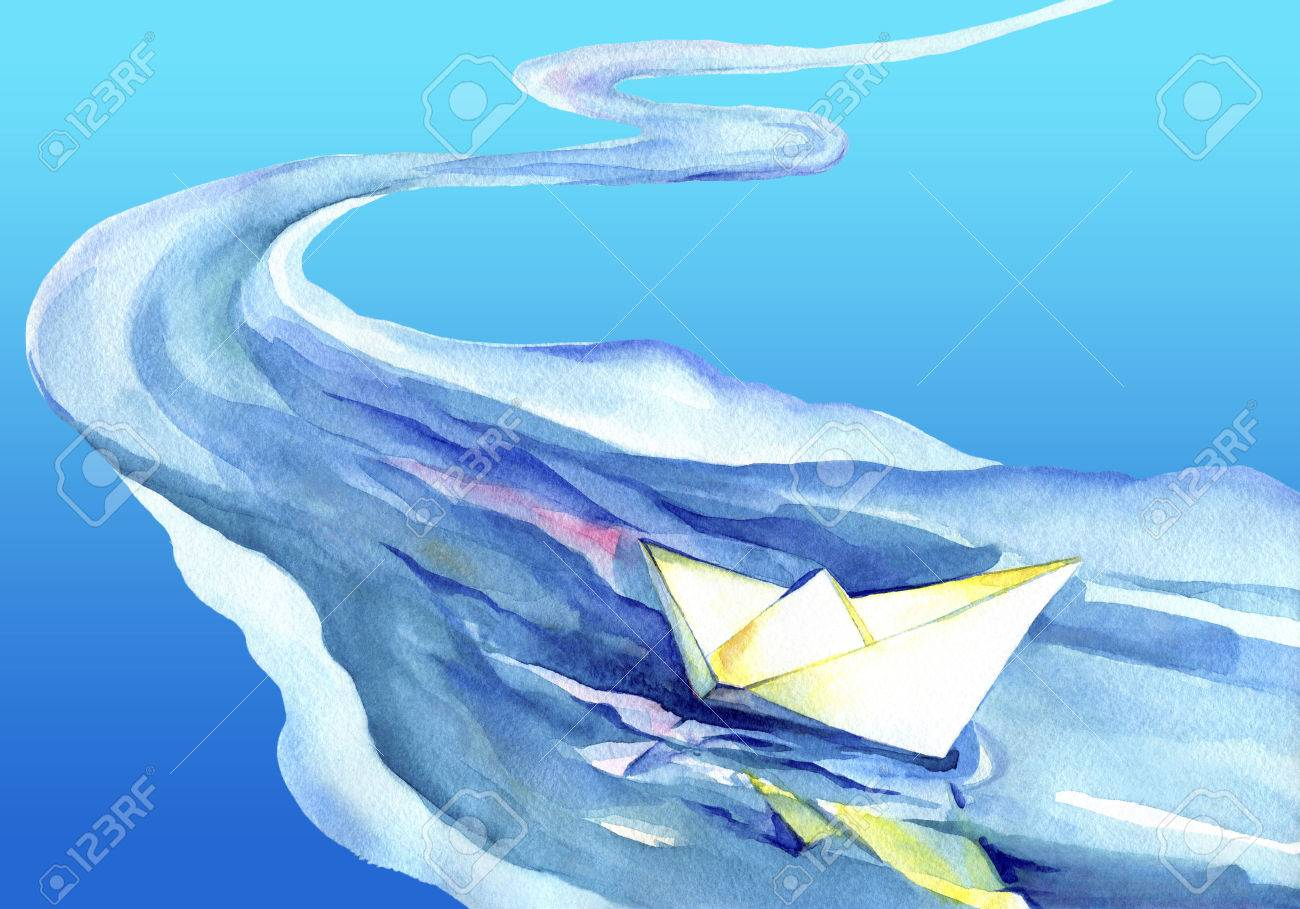 White paper ship sails on the waves. Watercolor painting of the ship and sea water. - 49792027