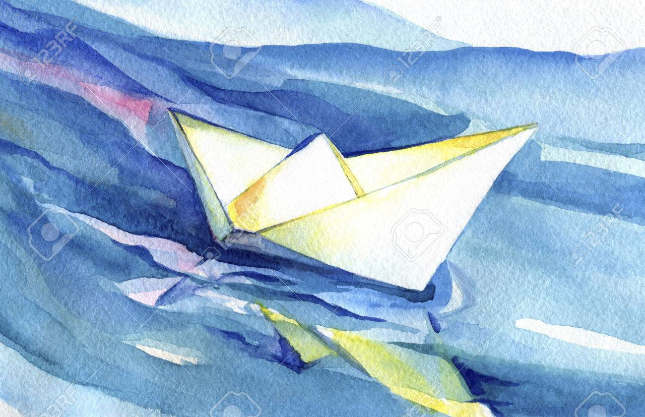 White paper ship sails on the waves. Watercolor painting of the ship and sea water. - 49792033