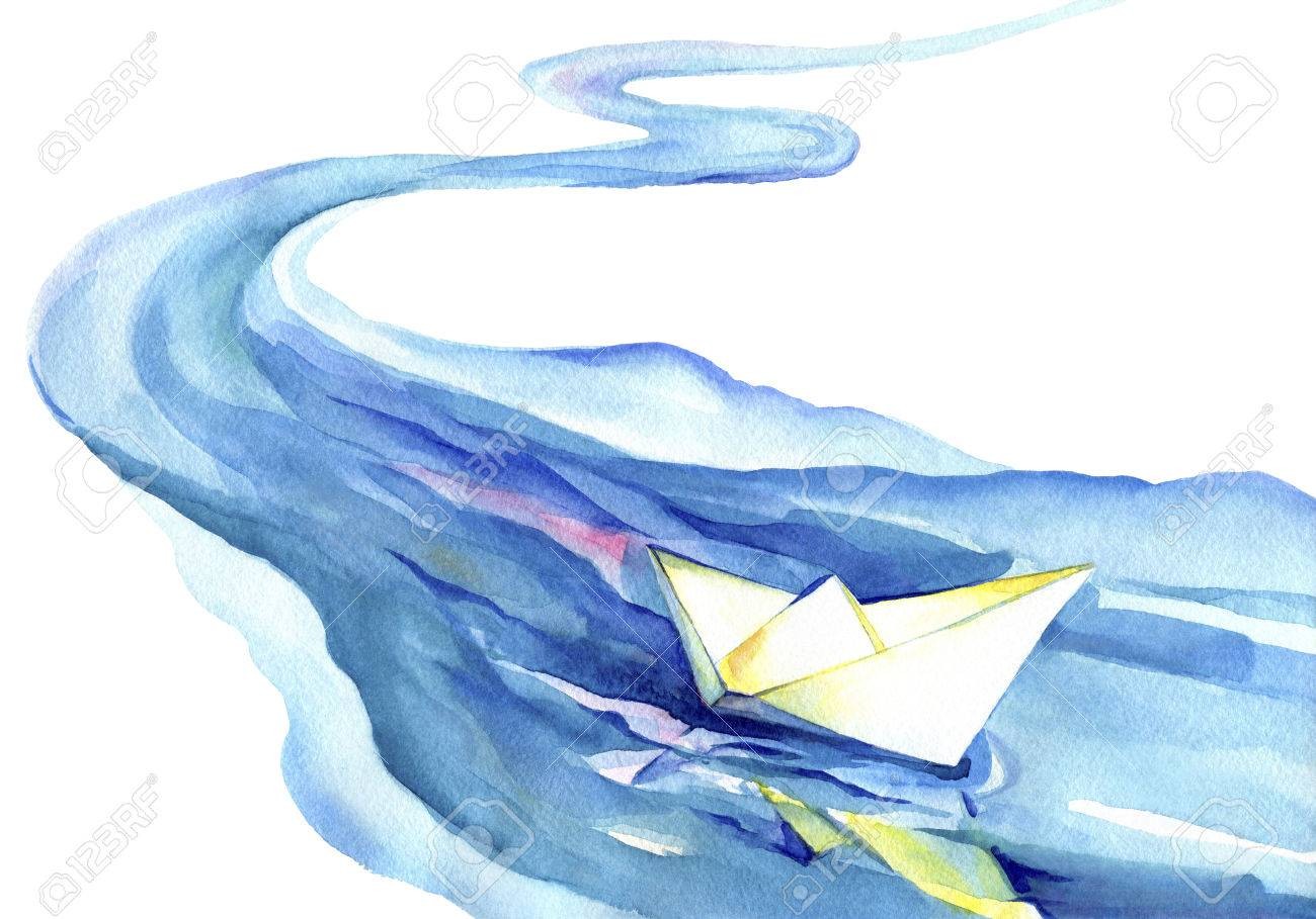 White paper boat floating in the water.Watercolor painting of the river and ship on a white background. - 49792034
