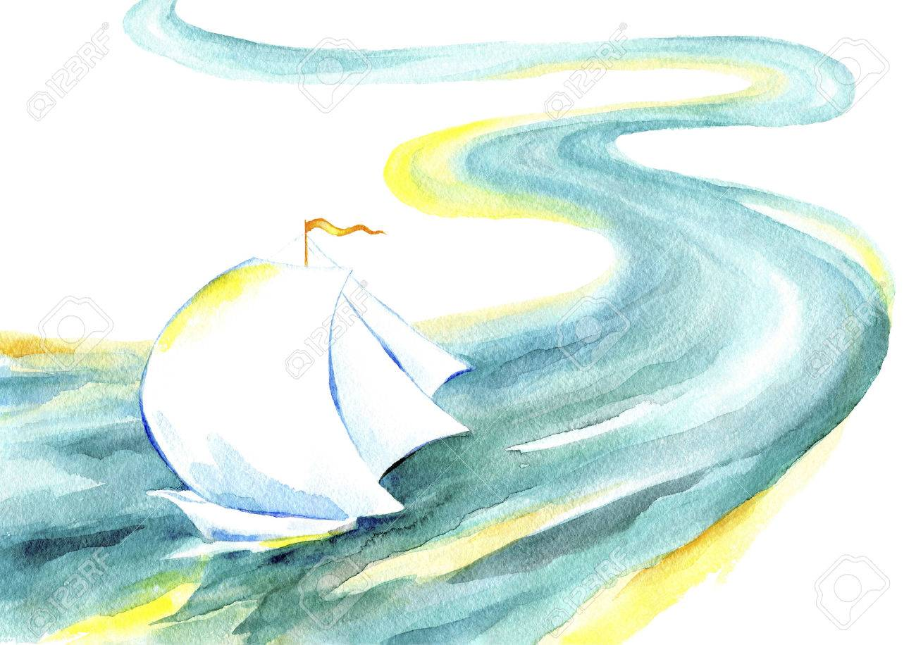 Sailing ship floating on the river.Watercolor painting of a yacht with white sails, the wind, the emerald river on a white background. - 59411254
