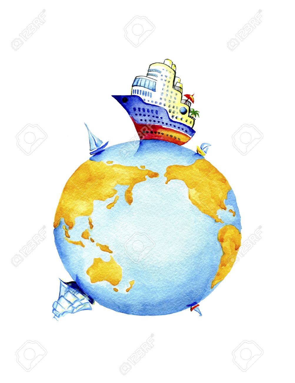 Planet Earth and world waterways transport.Watercolor painting on white background - 68799445