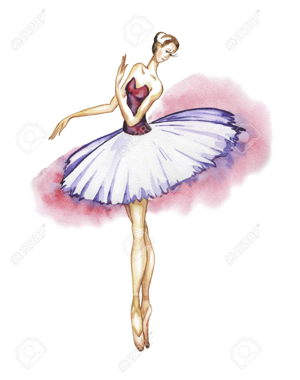 Classical ballerina in a tutu and pointe shoes. Watercolor drawing on a white background - 142898964