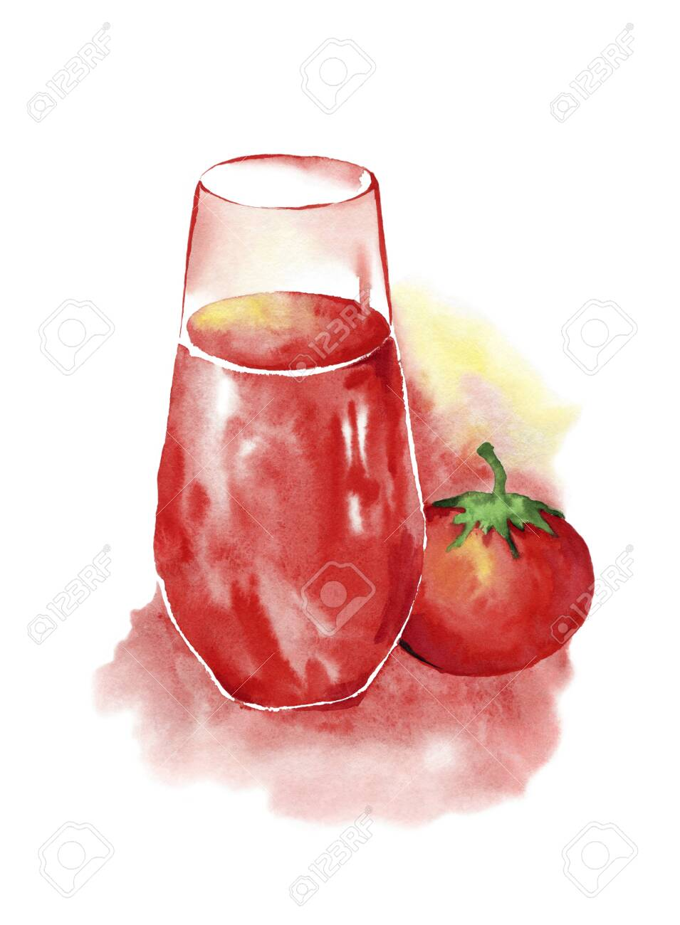 A glass of tomato juice and a red ripe tomato.Watercolor drawing on a white background - 148612013