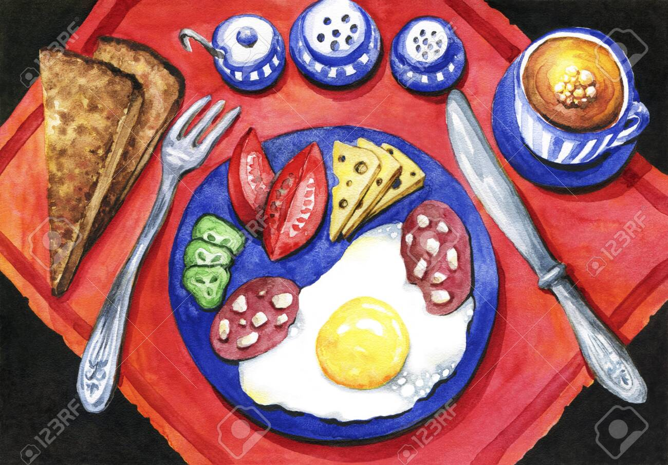 Breakfast of eggs with sausage, cheese and vegetables. Black bread and a cup of coffee.Bright watercolor drawing - 148897818