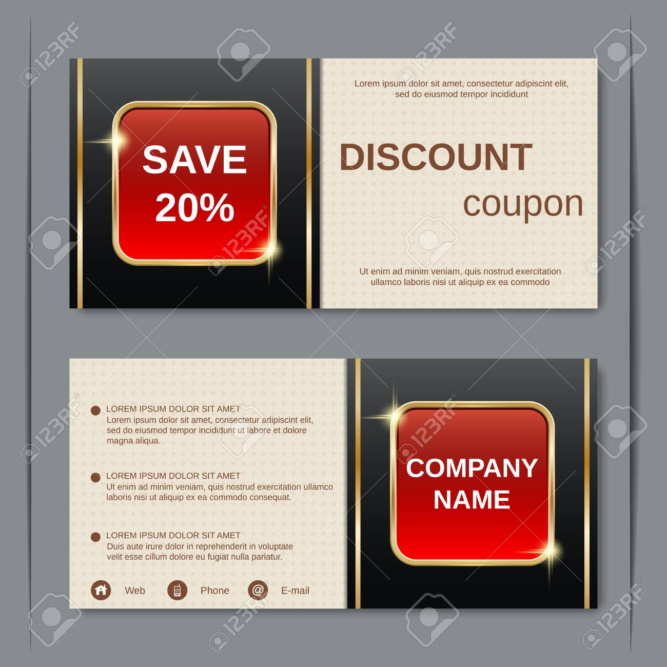 Discount Coupon, Gift Voucher, Gift Certificate, Sticker Template ...