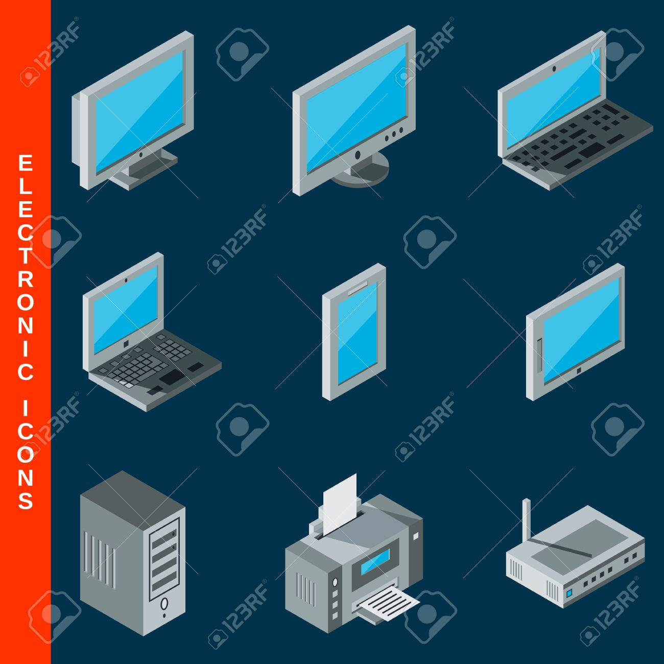isometric flat 3d computer equipment icons set royalty free cliparts