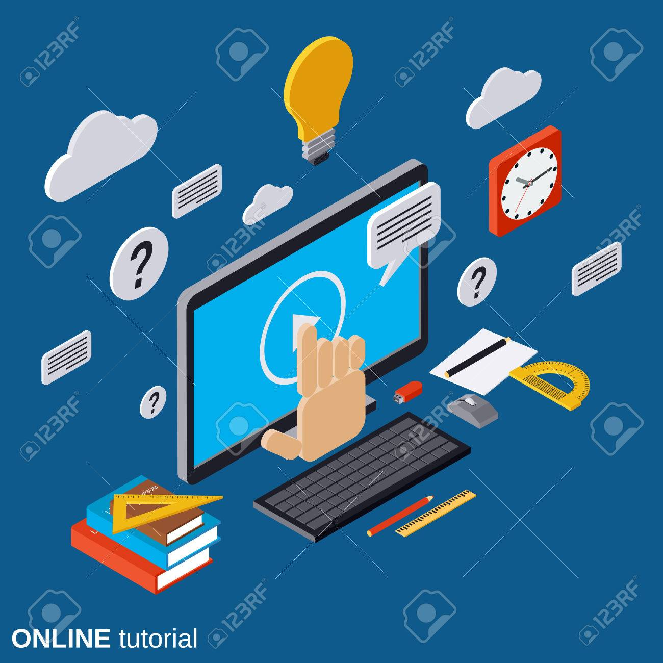 Online education, learning, tutorial, user guide vector concept Stock  Vector - 59985896