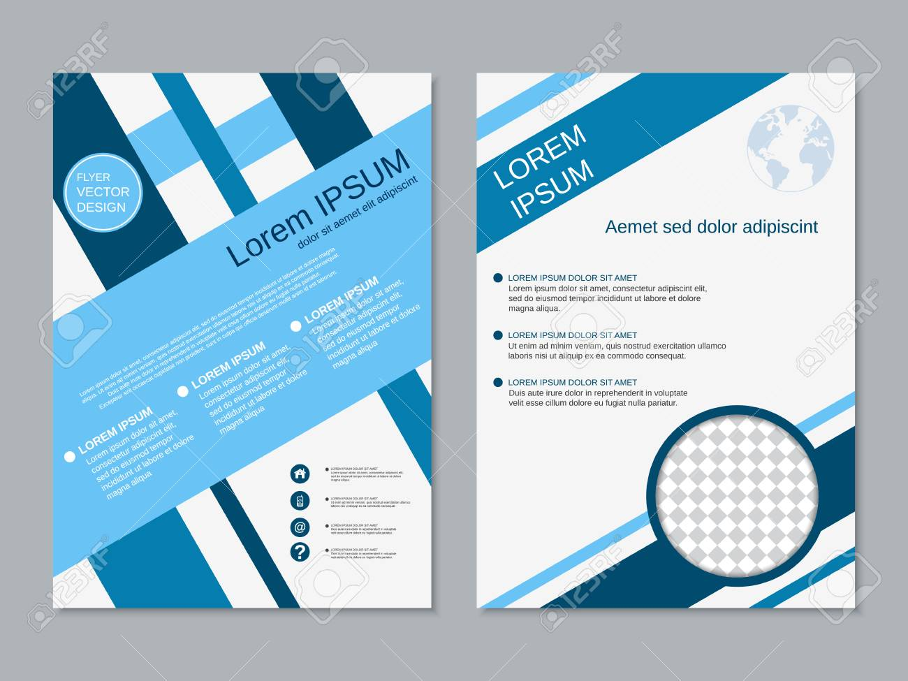 Professional Modern Two-sided Flyer Vector Abstract Design Template ...
