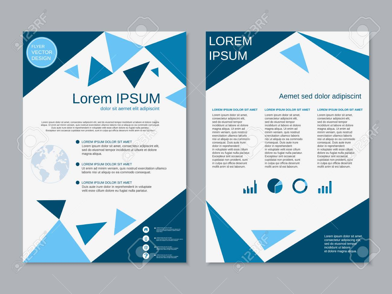 professional modern two sided flyer vector abstract design template