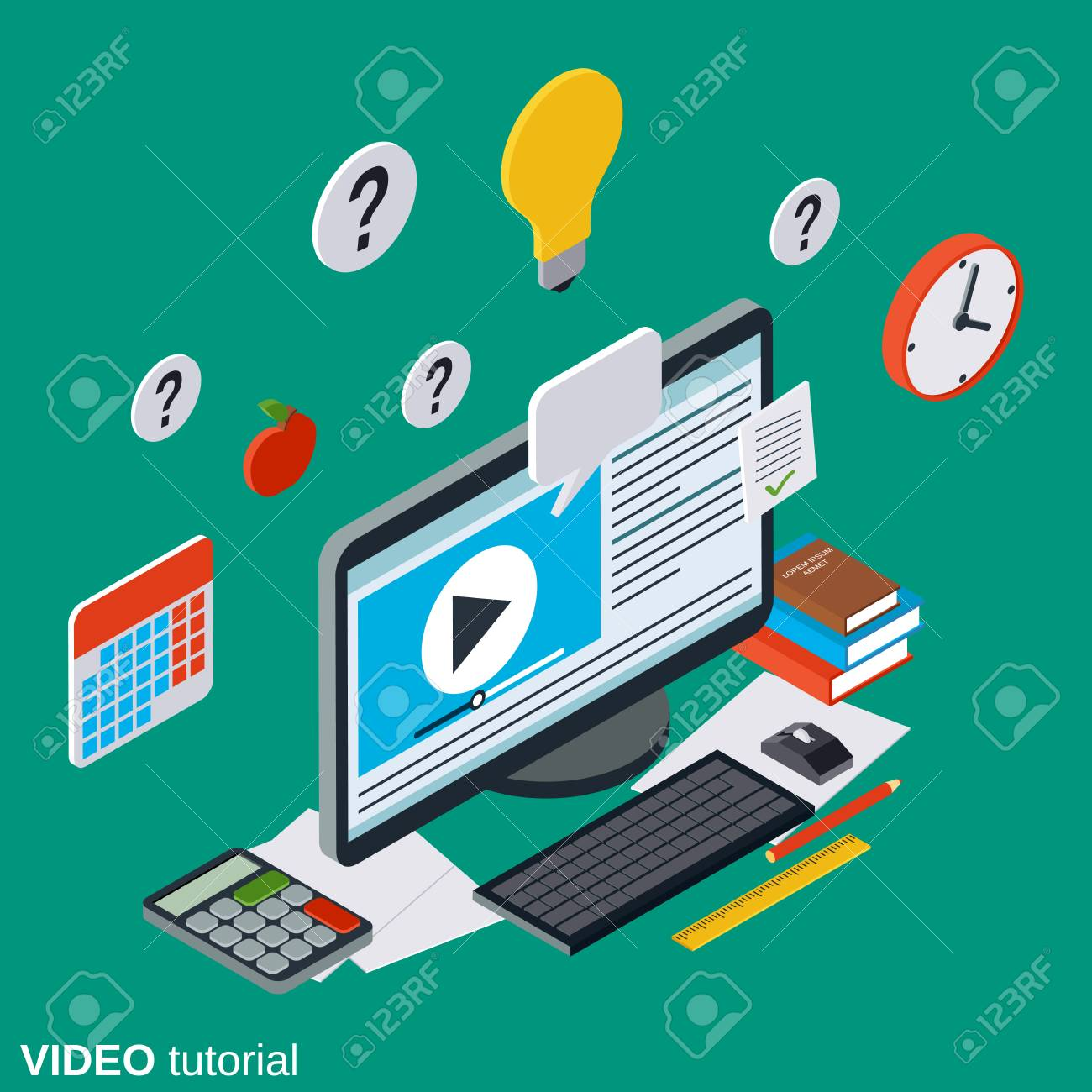 video tutorial e learning online education user guide flat rh 123rf com Photoshop CS5 Video-Tutorials Card Making Video-Tutorials