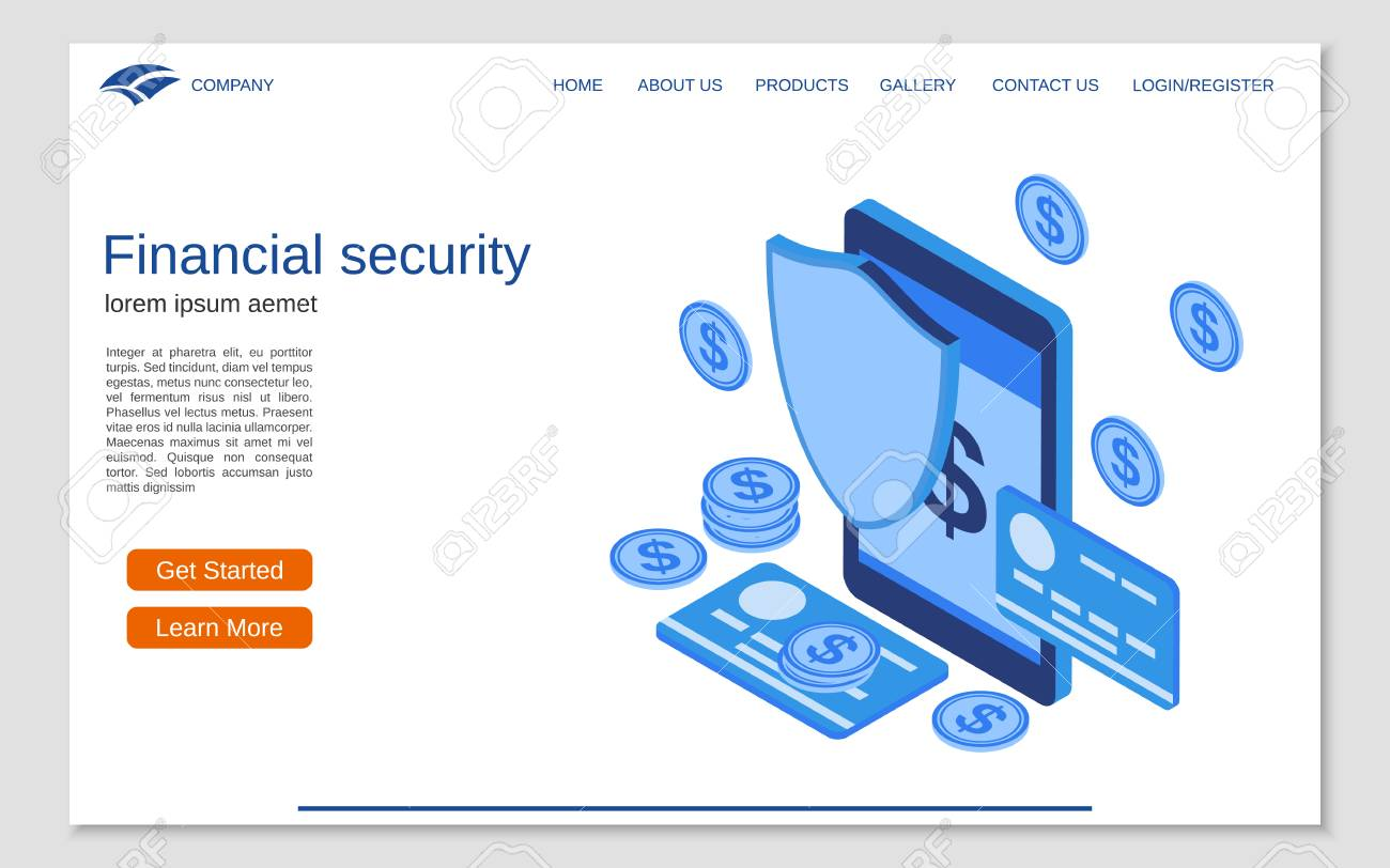 Financial security, online banking, money protection flat 3d