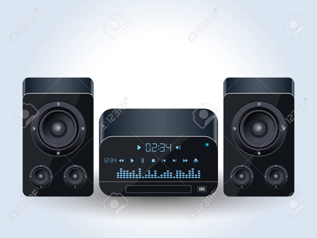 Home audio system realistic vector illustration - 122701754
