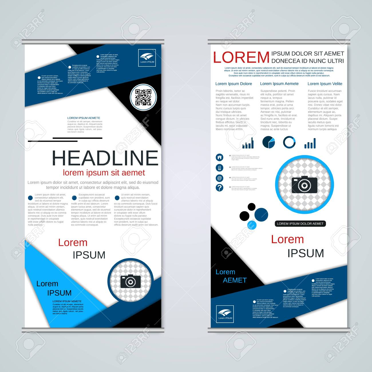 Modern roll-up business banners, two-sided flyer vector design template - 122701773