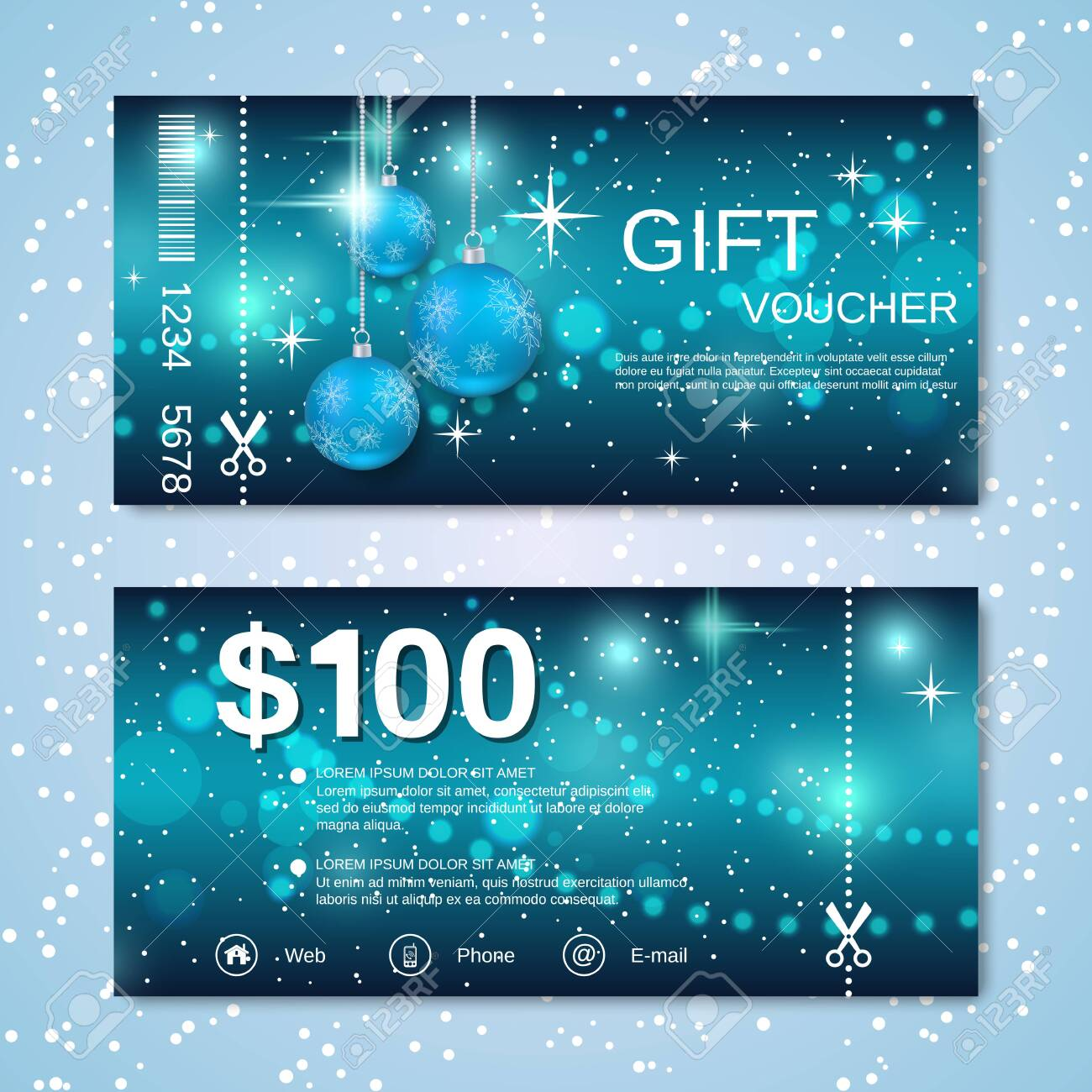 Christmas and New Year discount coupon, gift voucher vector template - 130595735