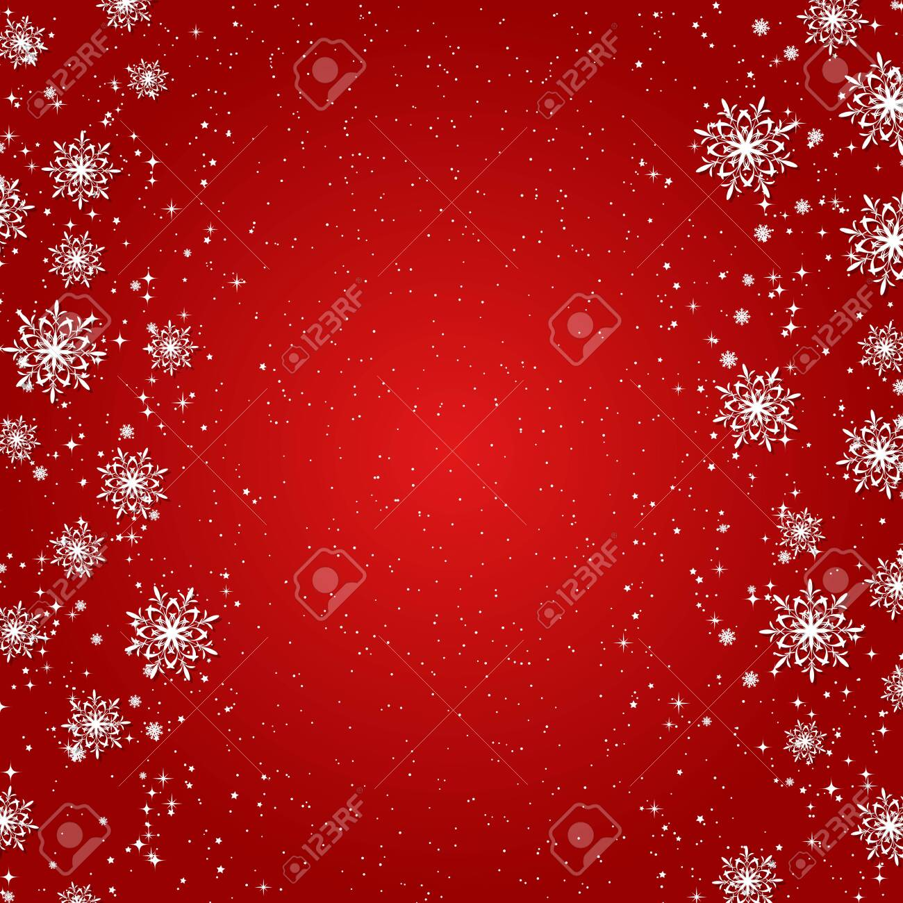 Christmas and New Year red vector background with stars and snowflakes - 137341834