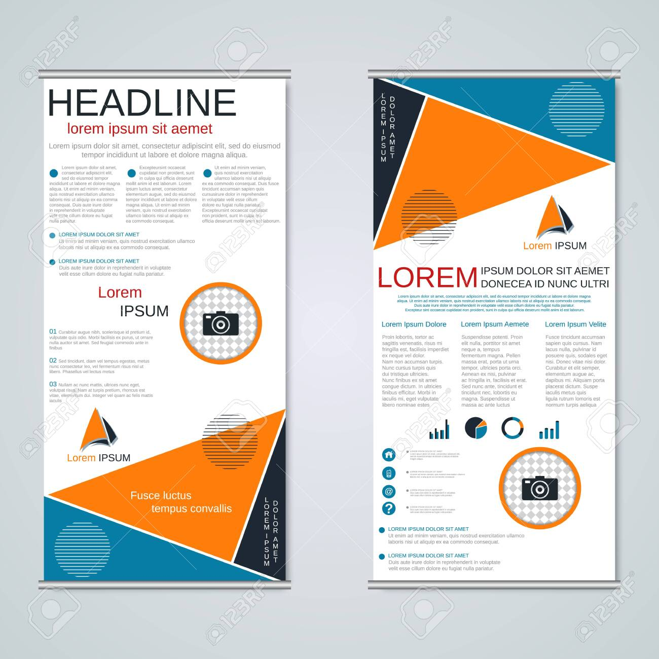 Modern roll-up business banners, two-sided flyer vector design - 137564915