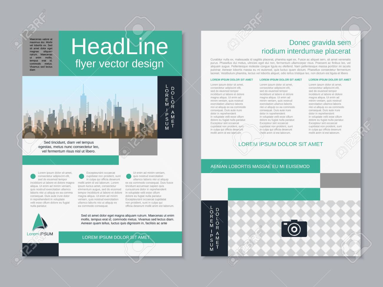 Modern business two-sided flyer, booklet, brochure cover vector design template. A4 format - 151534581