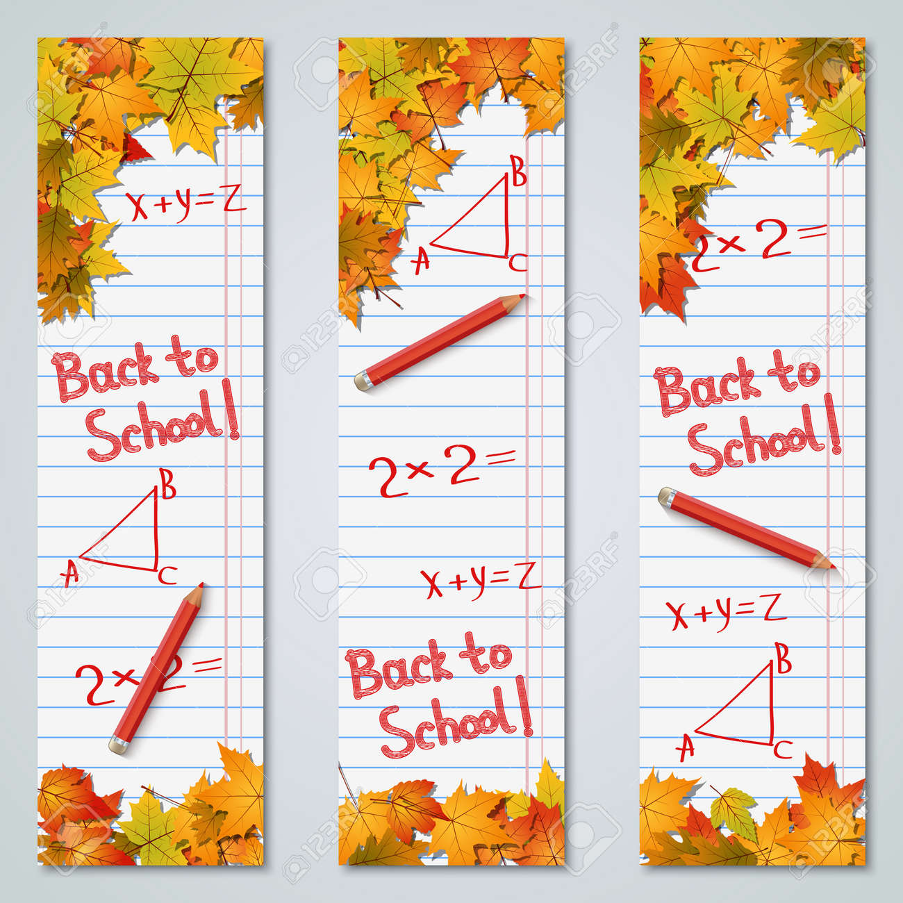 Back to school autumn style vertical banners vector design collection - 151988492