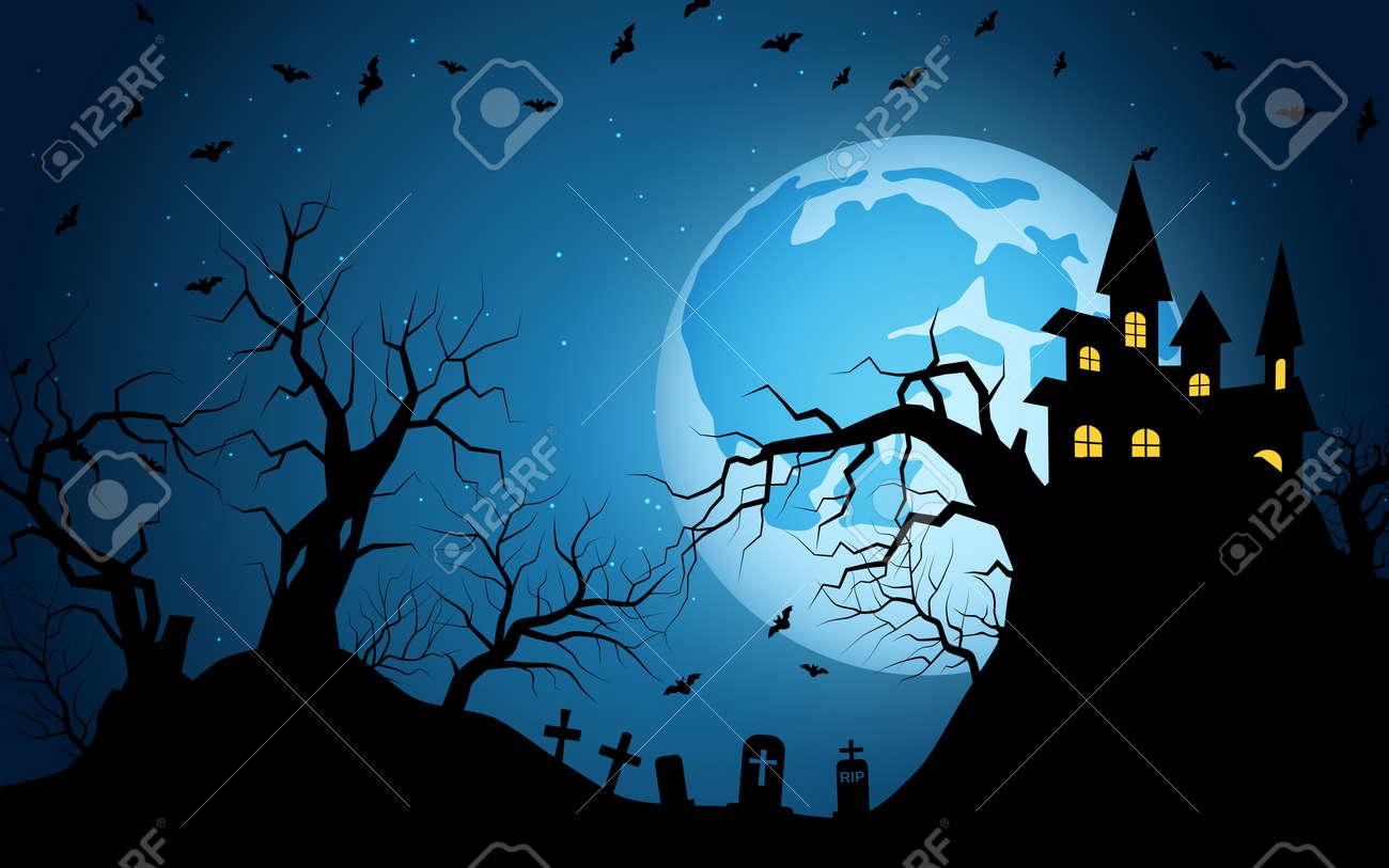 Halloween scary night vector background - 156308425