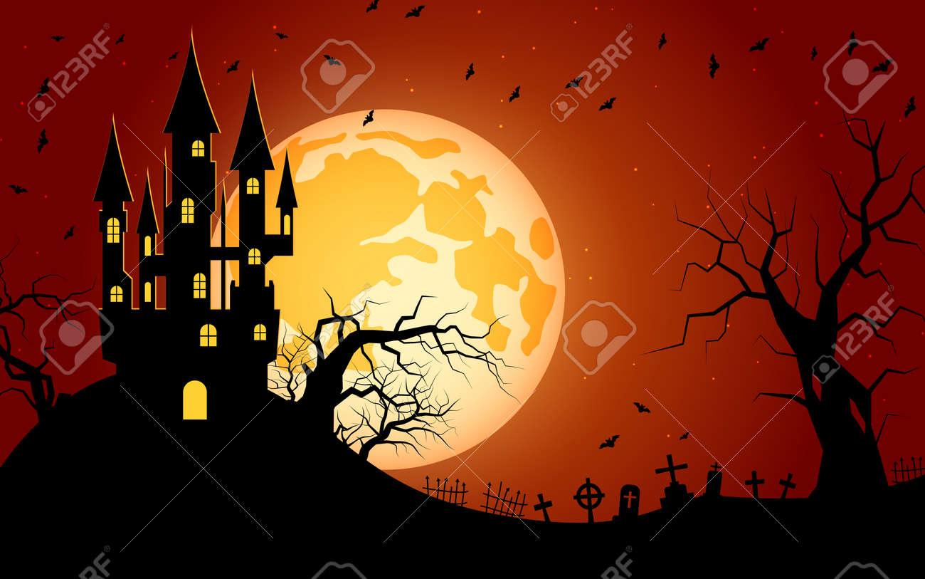 Halloween scary night vector background - 156308430