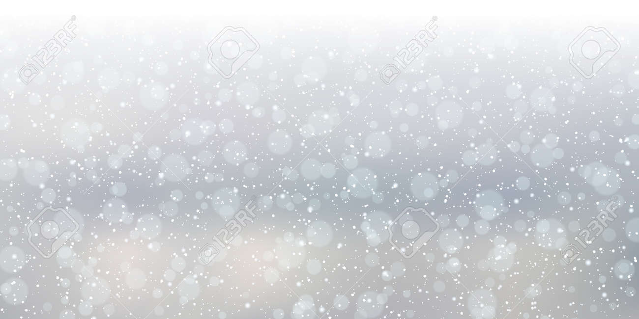 Christmas and New Year cloudy sky with snowfall vector background - 159382214