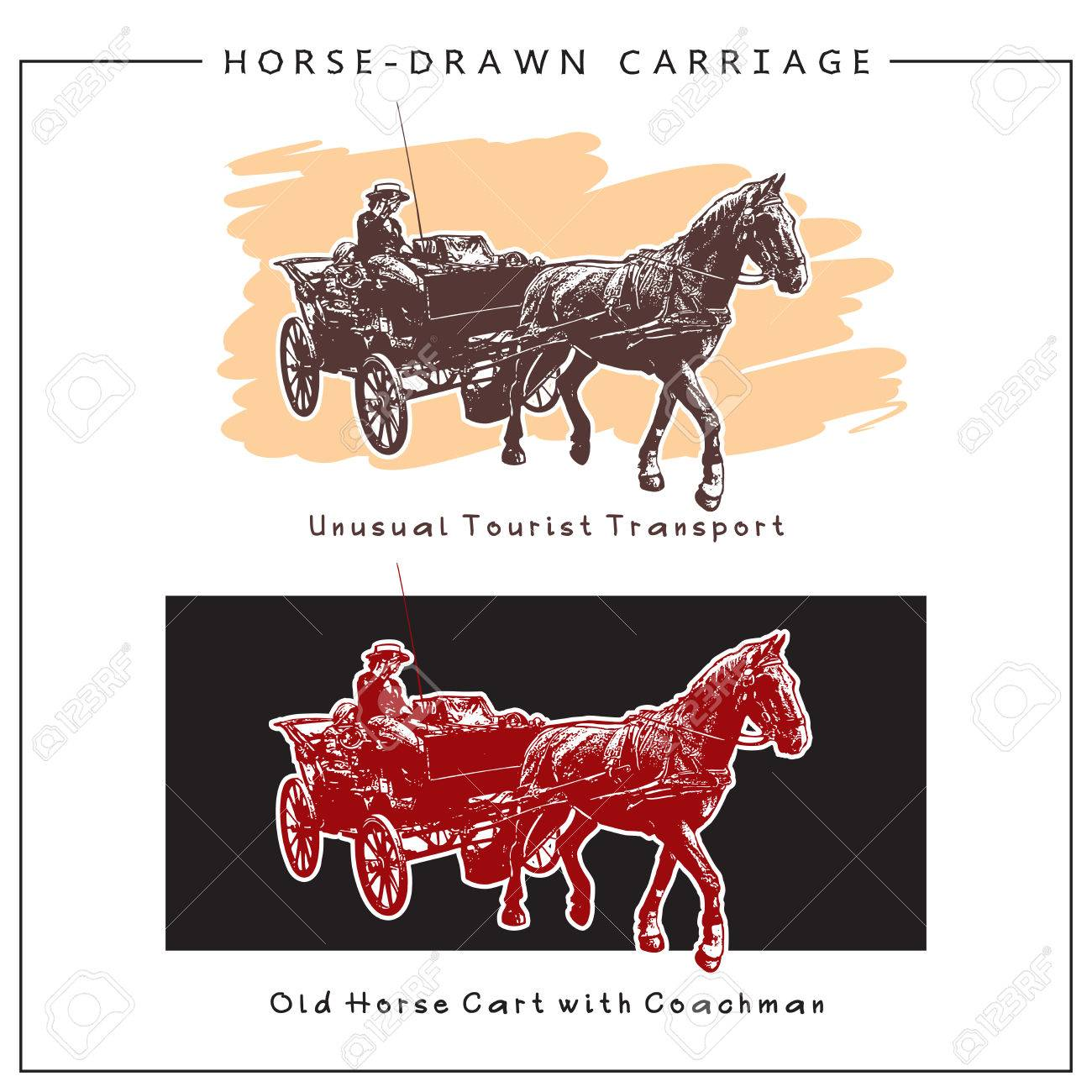 Image Of A Horse Drawn Carriage Horse Cart With Man Colored Royalty Free Cliparts Vectors And Stock Illustration Image 68283615