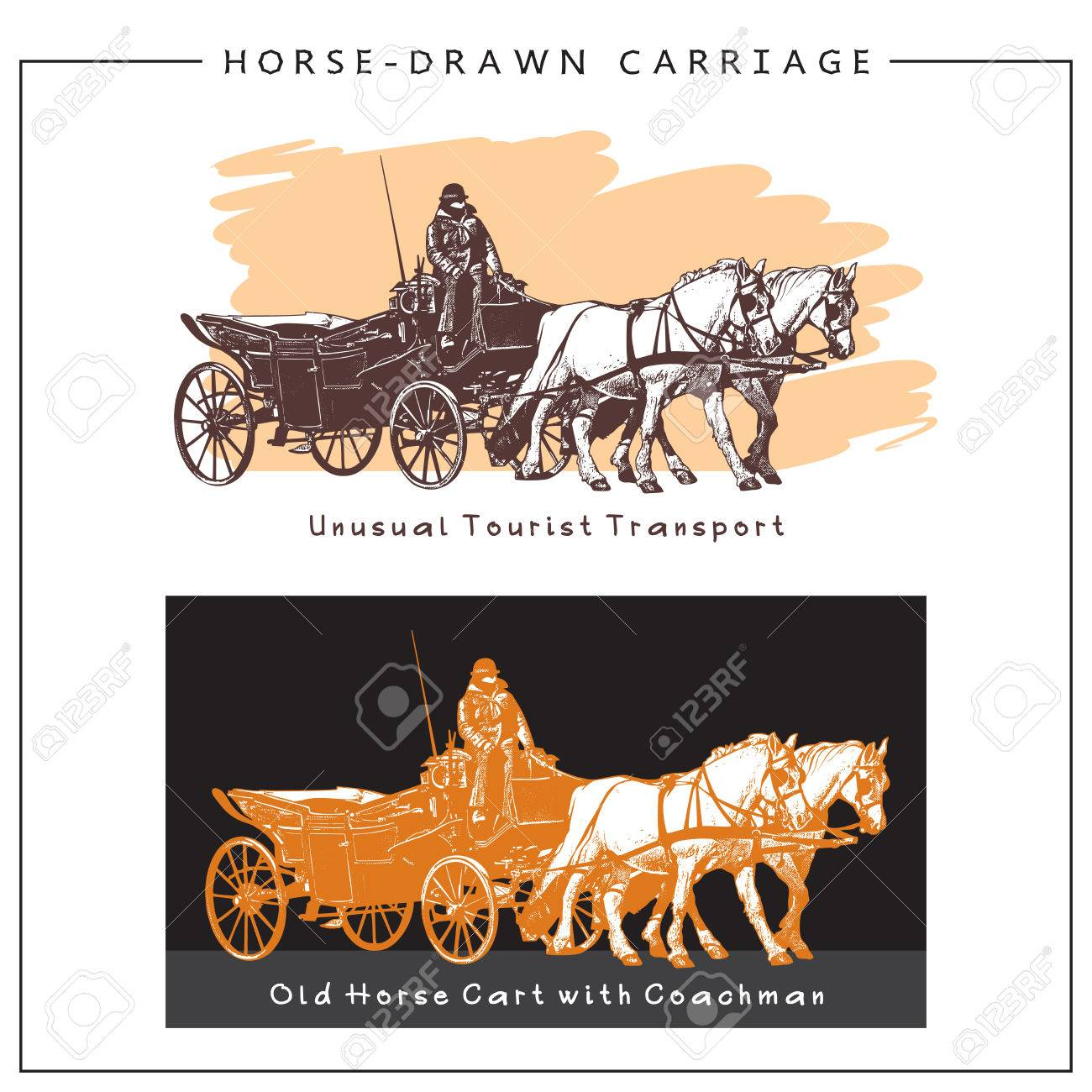 Horse Drawn Carriage Horse Cart With A Man And Two Horses Colored Royalty Free Cliparts Vectors And Stock Illustration Image 68334831