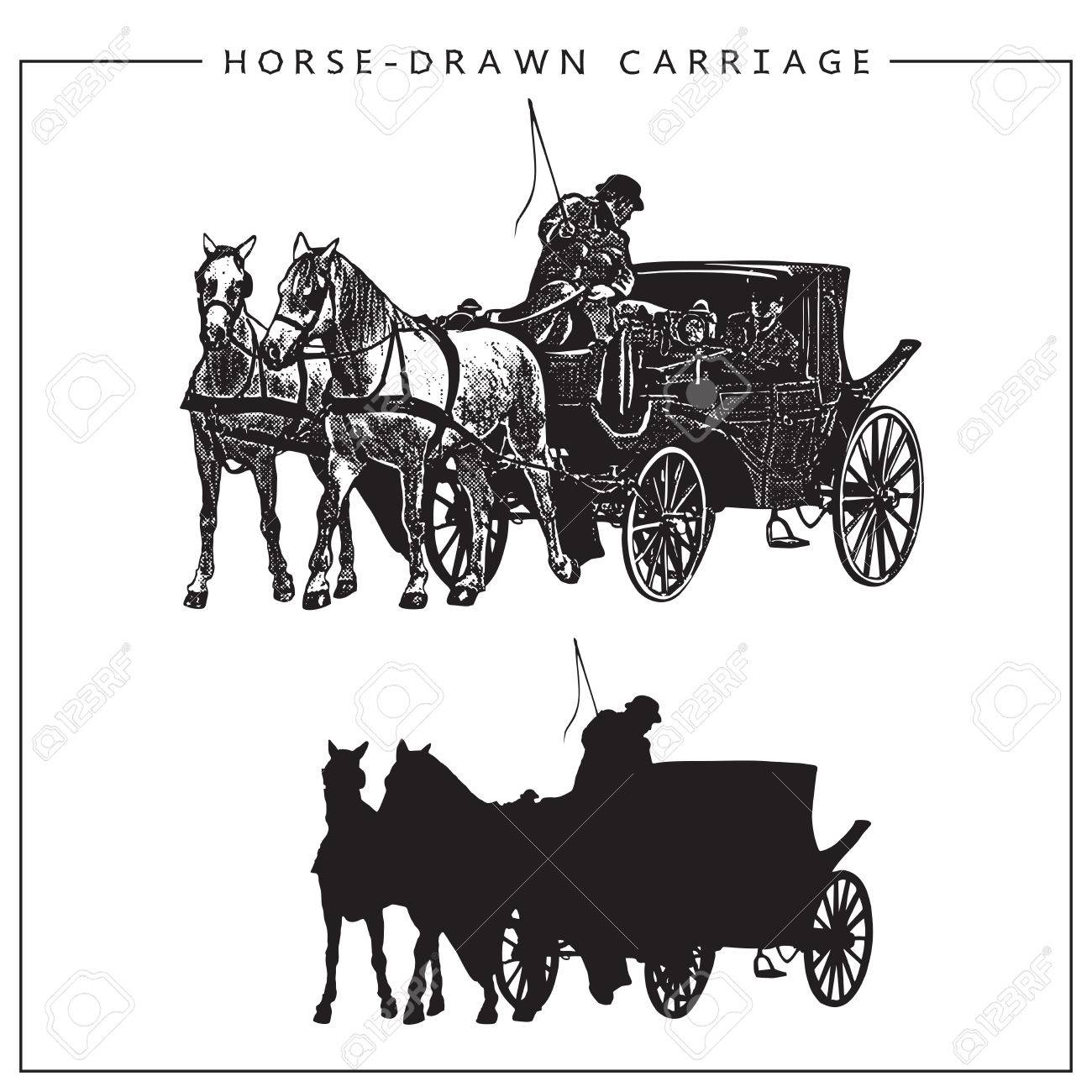 Illustration Of Horse Drawn Carriage Horse Cart With Coachman Royalty Free Cliparts Vectors And Stock Illustration Image 68334833