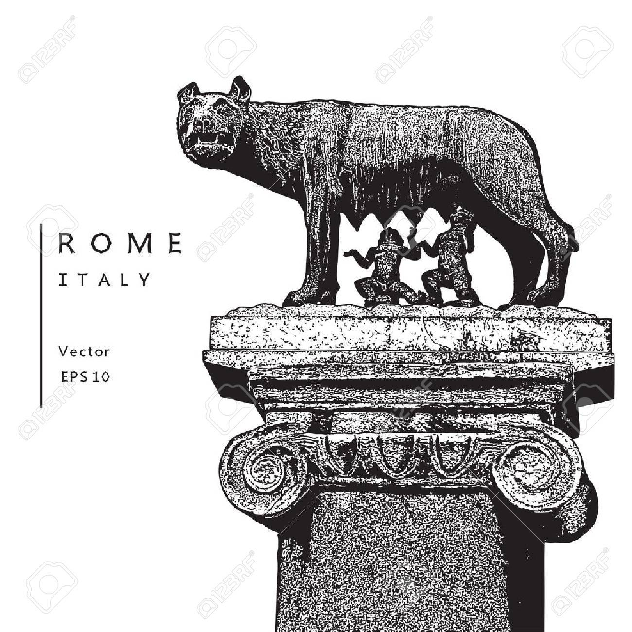 Capitoline Wolf With Romulus And Remus Symbol Of Rome Italy