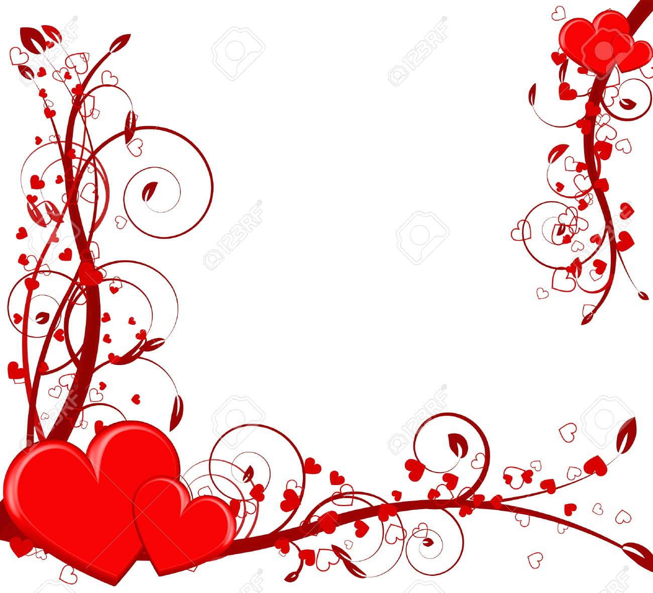 Saint Valentines Day Heart Floral Abstract Background Royalty Free