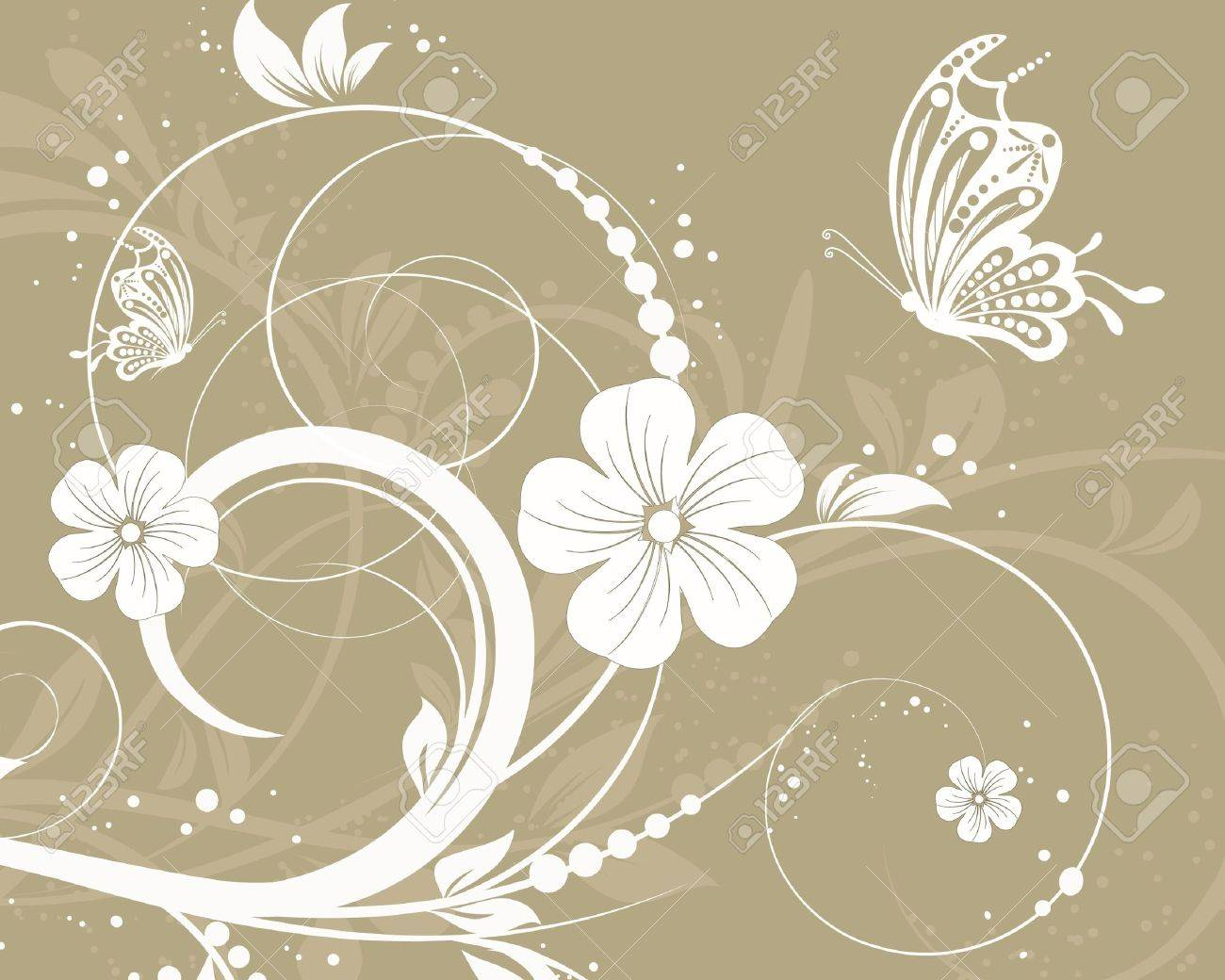 vector floral decorative abstract background with butterfly Stock Vector - 10033364