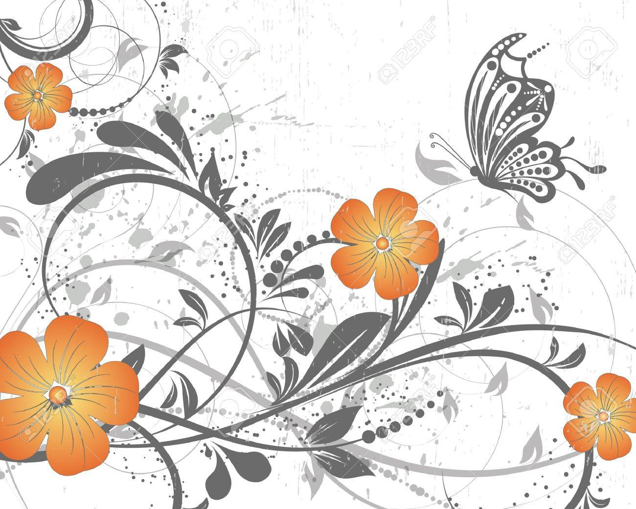 vector floral decorative abstract background with butterfly Stock Vector - 10033385