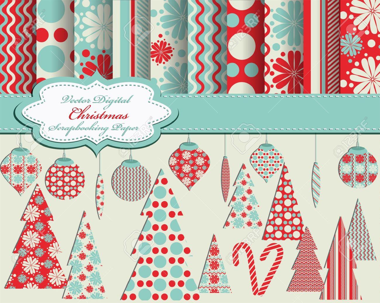 Satz Von Weihnachten Papier Und Clip Vektorgrafiken Für Scrapbook ...