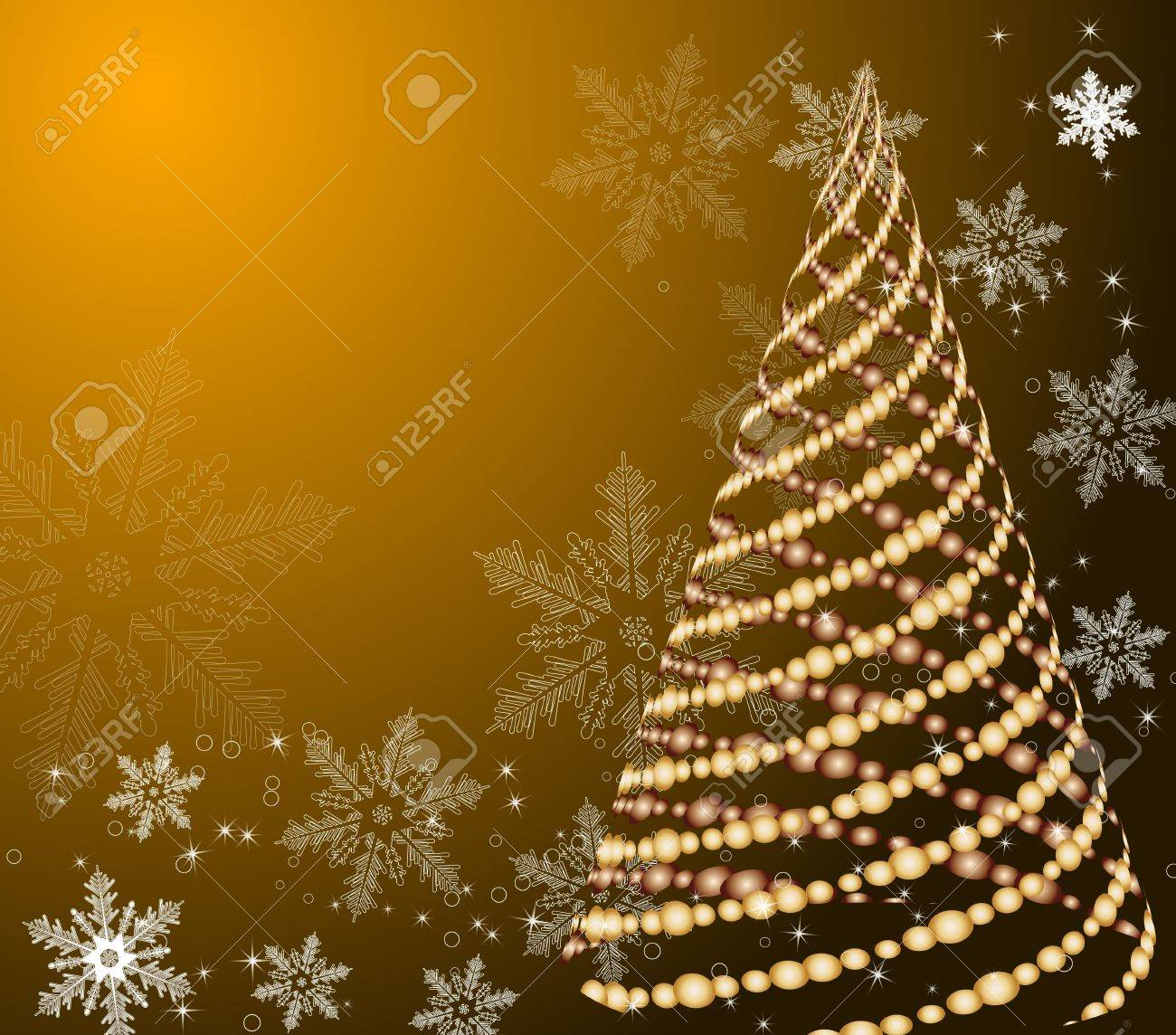 Stylized Vector Gold Christmas Tree On Decorative Background Stock