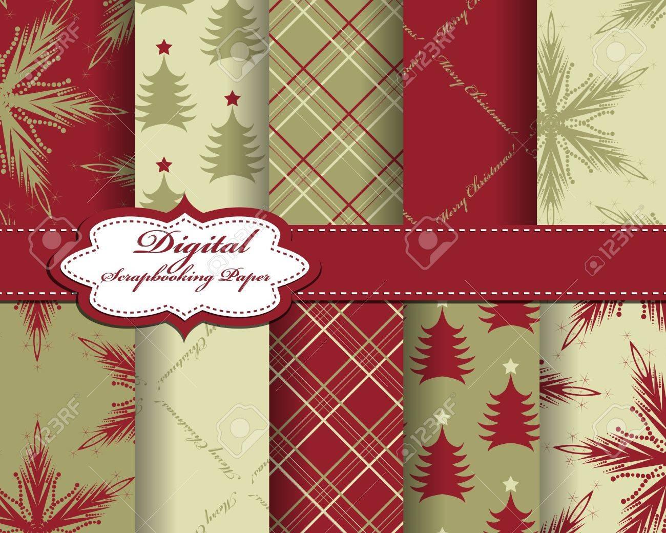 Set Von Vektor Weihnachten Papier Für Scrapbook Lizenzfrei Nutzbare ...