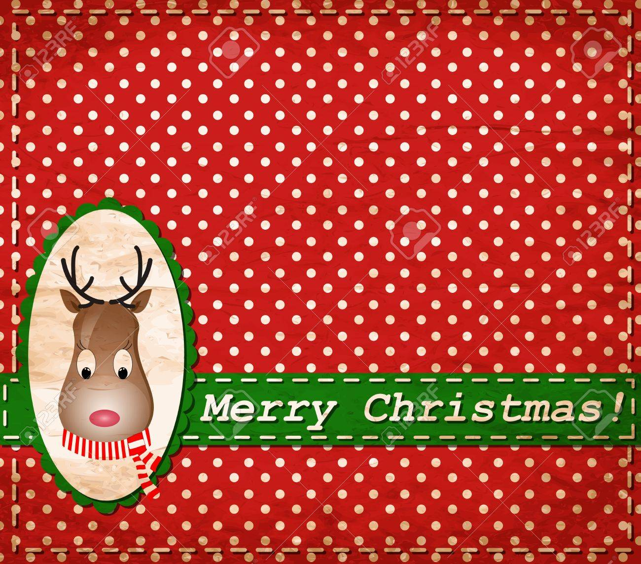 Santa Claus Deer vintage Christmas card Stock Vector - 15603551