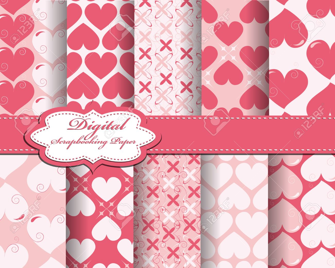 set of vector heart Valentines day pattern paper for scrapbook Stock Vector - 16386597