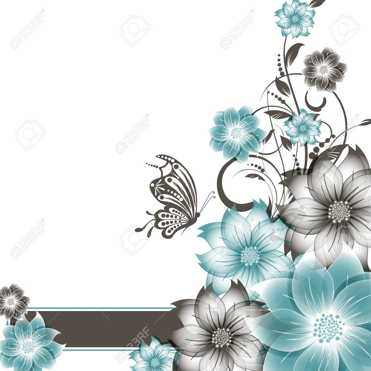 abstract vector flower background with butterfly Stock Vector - 17007473