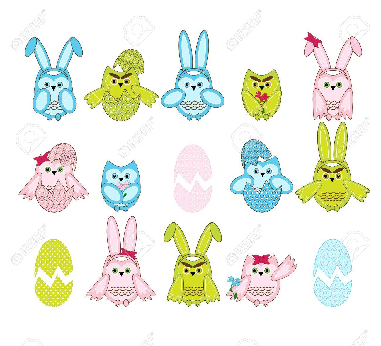 set of vector cute Easter owls on white background Stock Vector - 18284747