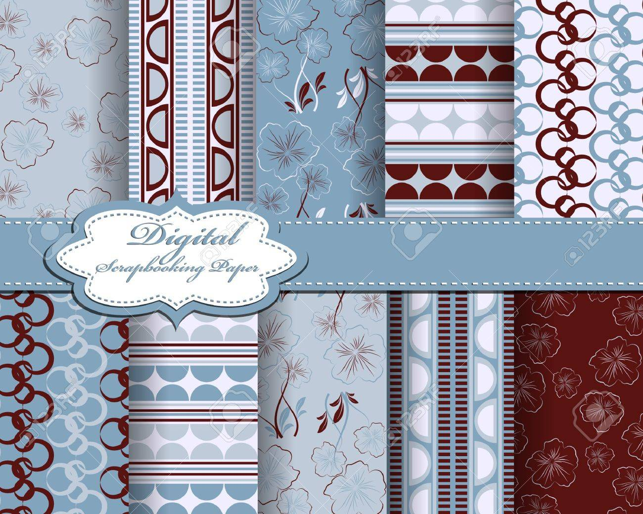 Set Of Vector Abstract Flower Pattern Paper For Scrapbook Royalty