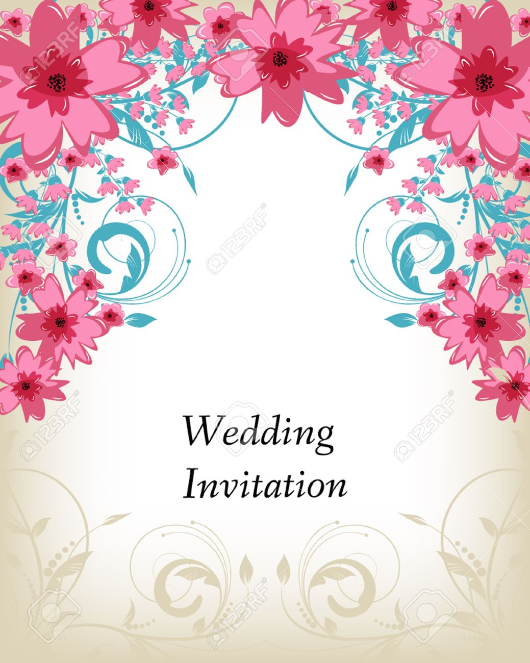 Wedding Invitation Card Flowers Abstract Colorful Background