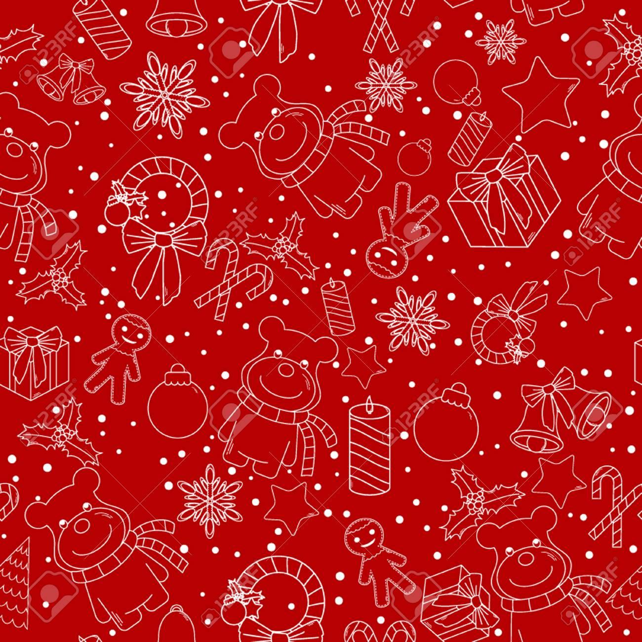 Ligne De Noël Icônes Seamless Background. Seamless Peut être