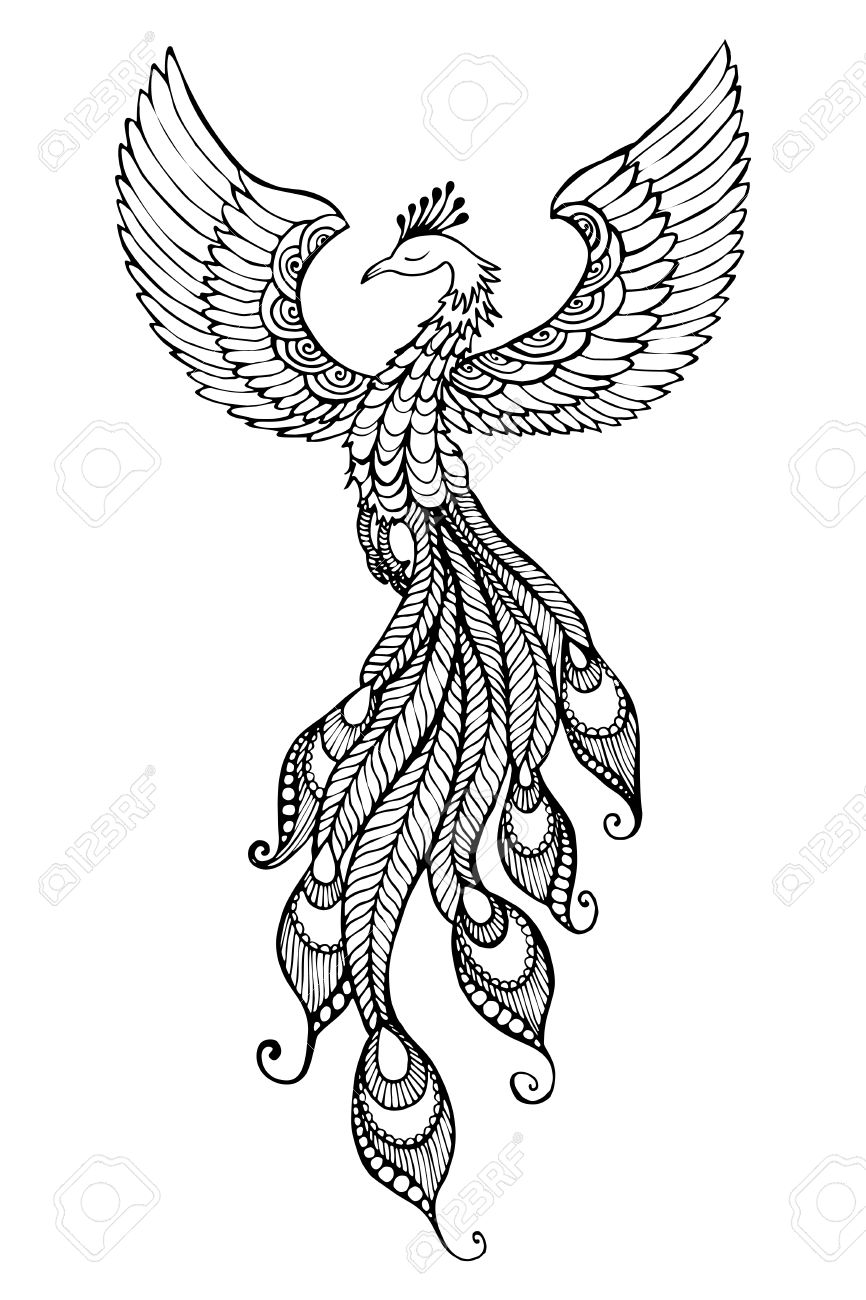 phoenix bird emblem drawn in tattoo style royalty free cliparts