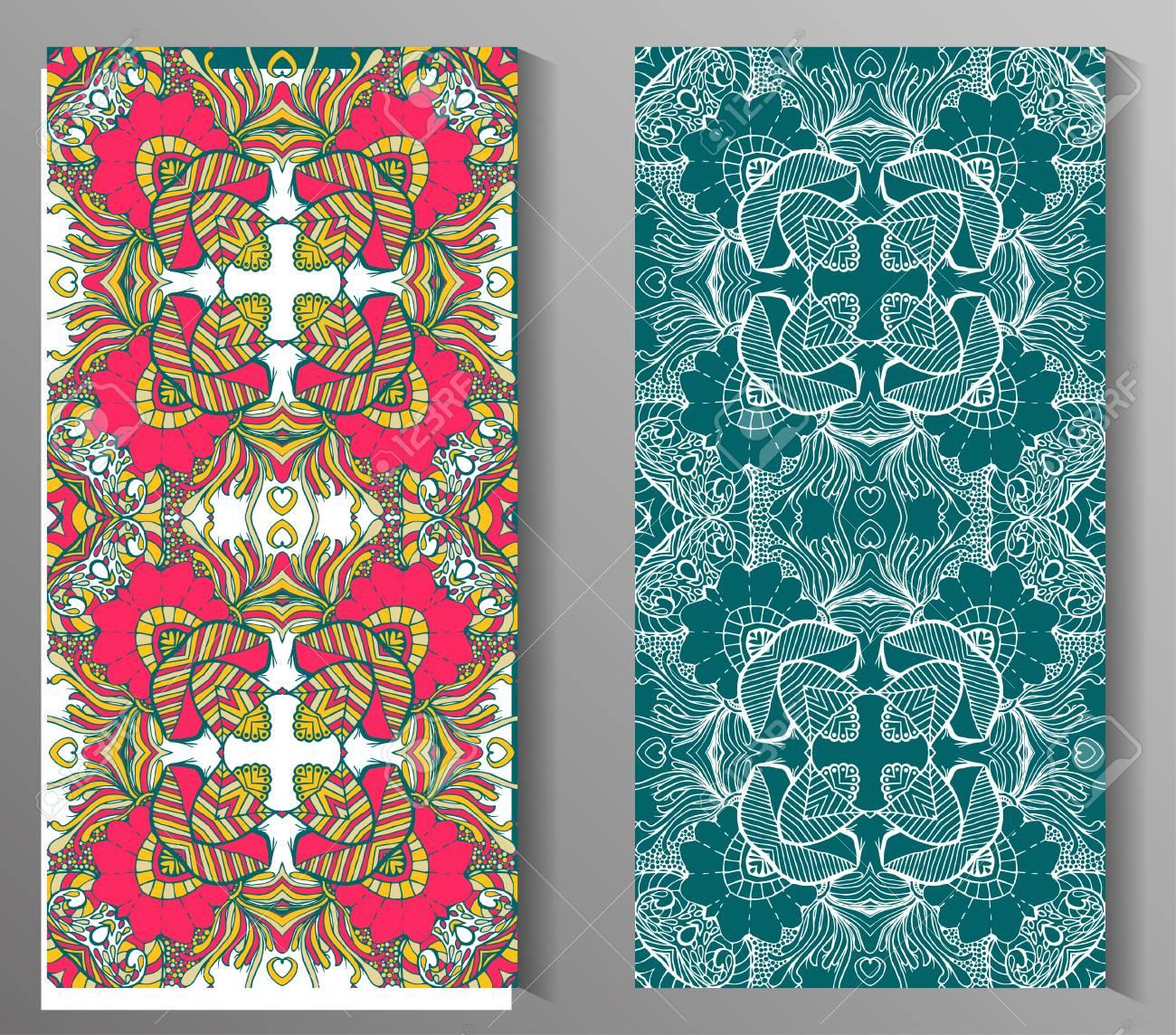Juego De Dos Eamless Modelo Abstracto Textura De La Mano Dibujado