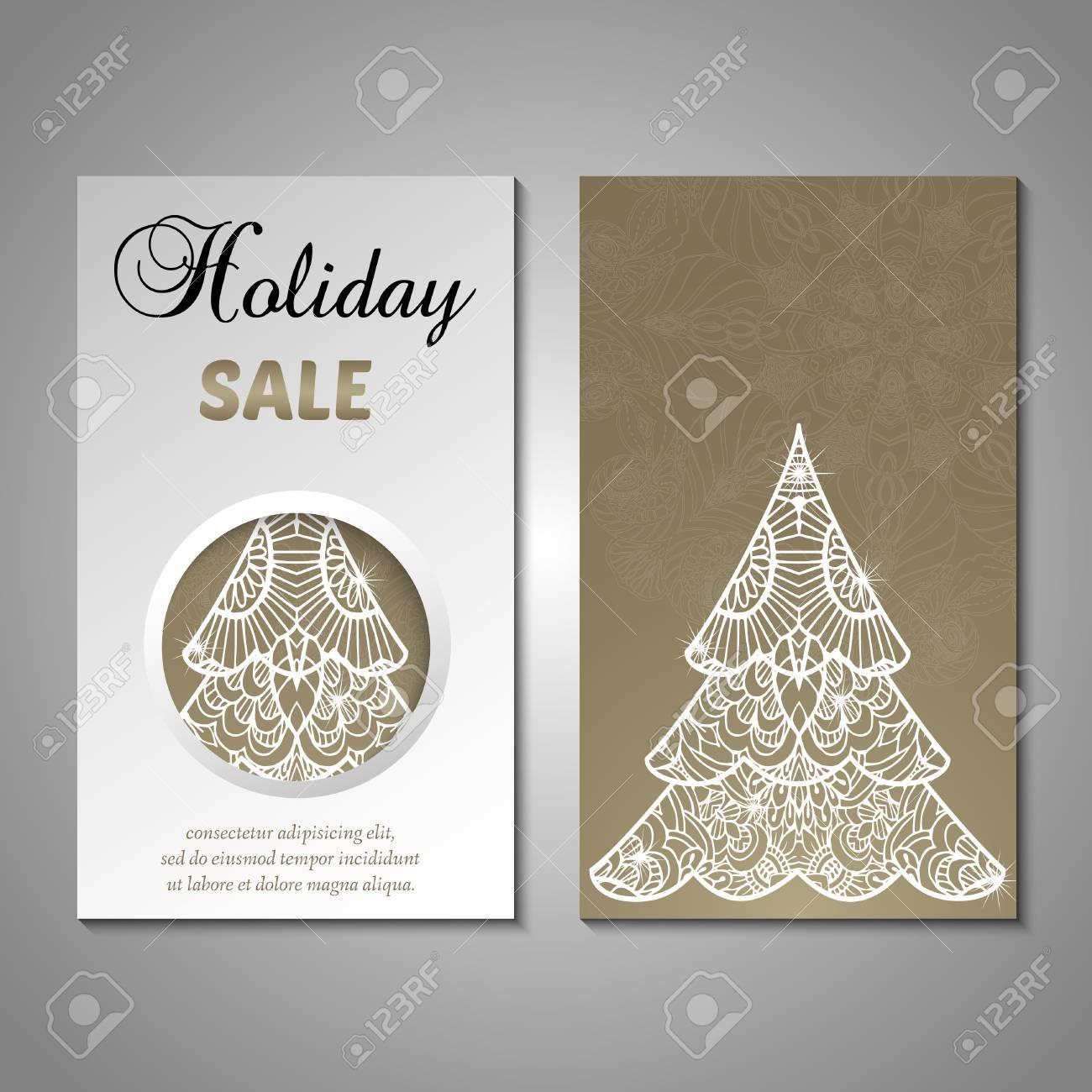 Set Of Stylized Christmas Tree Invitation Flyer Sale Discont